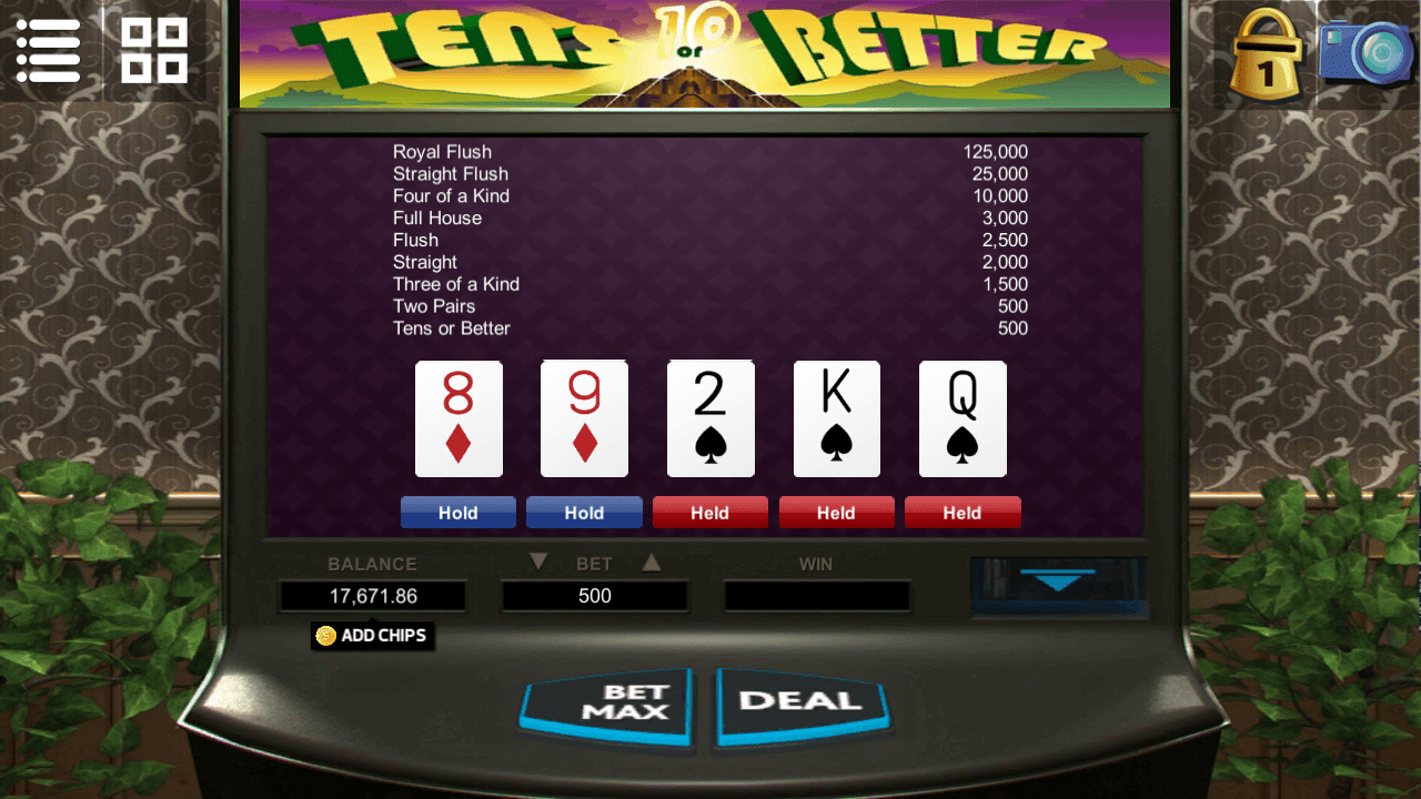 Videopoker - Tens or better
